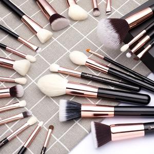 Image 5 - Jessup pincéis de maquiagem conjunto rosa ouro/preto fundação pó sombra compõem escova 6 pces 25 pces