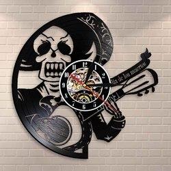 Ölü müzikal kafatası duvar saati Dia De Los Muertos gitarist vinil kayıt saati gitar çalar şeker kafatası ev dekor