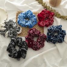 2Pcs/set Vintage Hair Scrunchies Bohemia Printed Headband Hair Bands Punk Turban Headwear Cotton Hair Accessories For Women