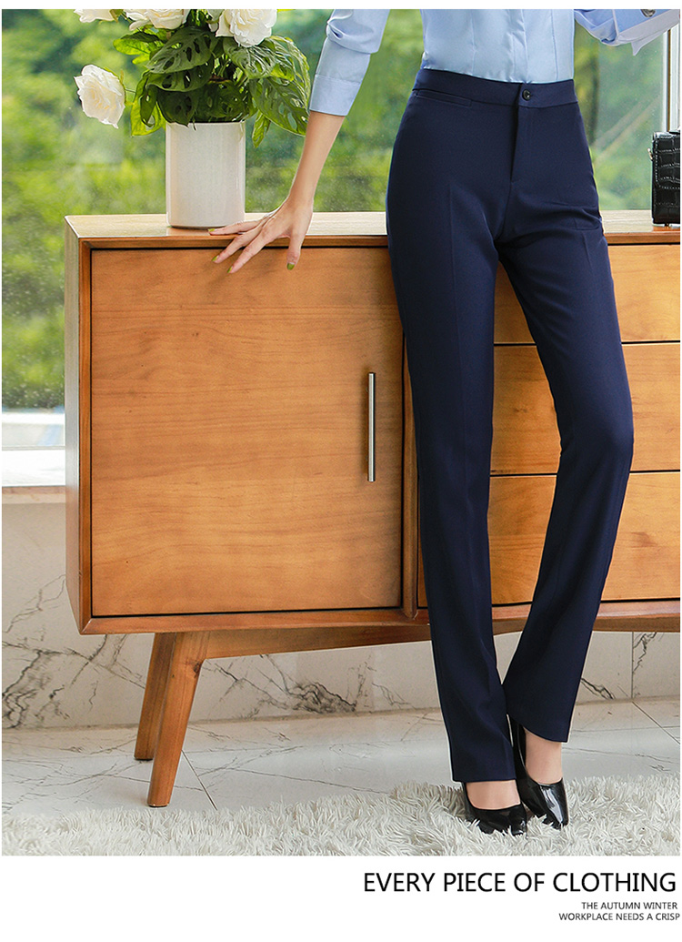 H8b27e100f91542bd8bc1aac6175d7d13Q - Autumn Business Casual Long Trousers Women Solid Black Blue Red Formal Pants Office Ladies Work Wear Straight Suit Pant 4XL