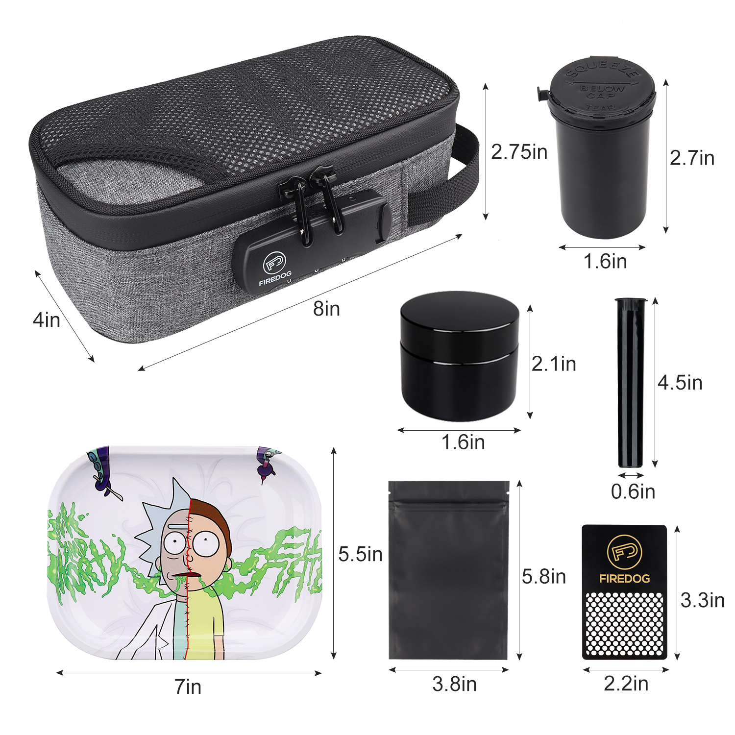 FIREDOG Smoking Smell Proof Case with Lock Kit  Stash Case with Rolling Tray Tobacco Cigarettes Bag Set 2