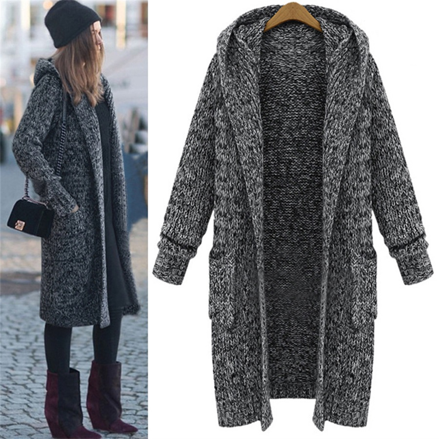 2019 autumn and winter new large size sweater coat fat sister loose super long hooded thick knit cardigan image