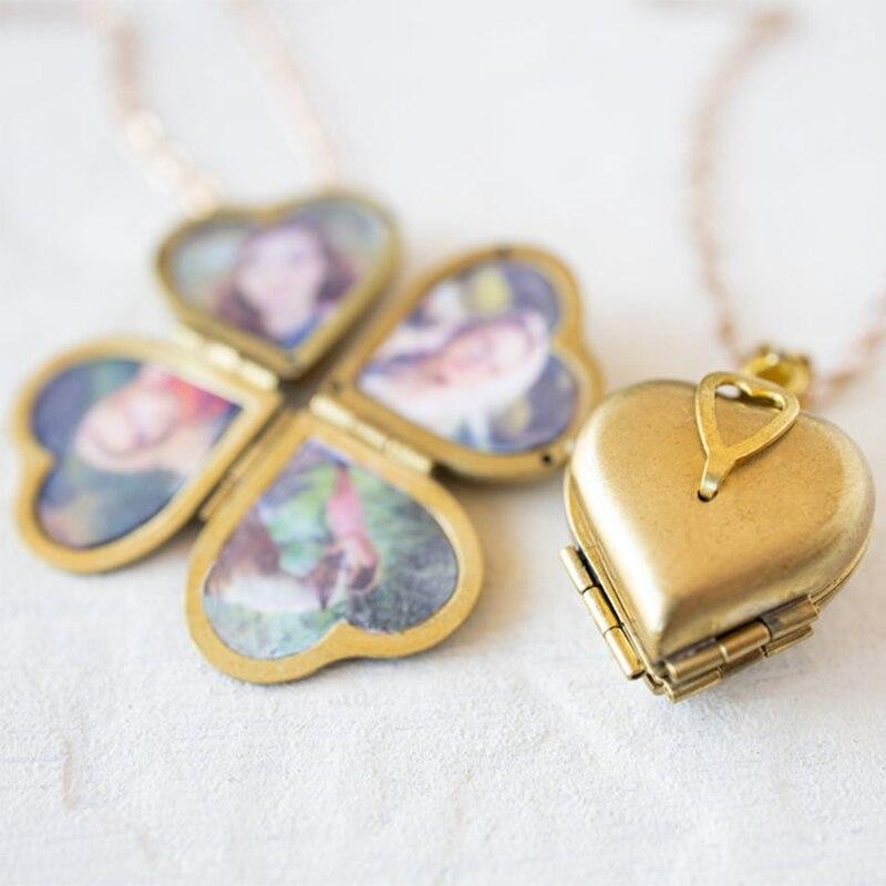 Diy Jewelry Vintage Heart Shaped 4-layer Photo Locket Necklace Pendant Statement Necklace Corrente Masculina Wedding Anniversary(China)