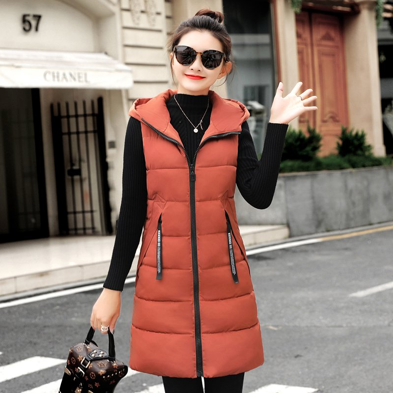 New Down Cotton Women Winter Vest  Zipper Hooded Women's Long Coats Warm Sleeveless Ladies Long Jackets Slim Vests