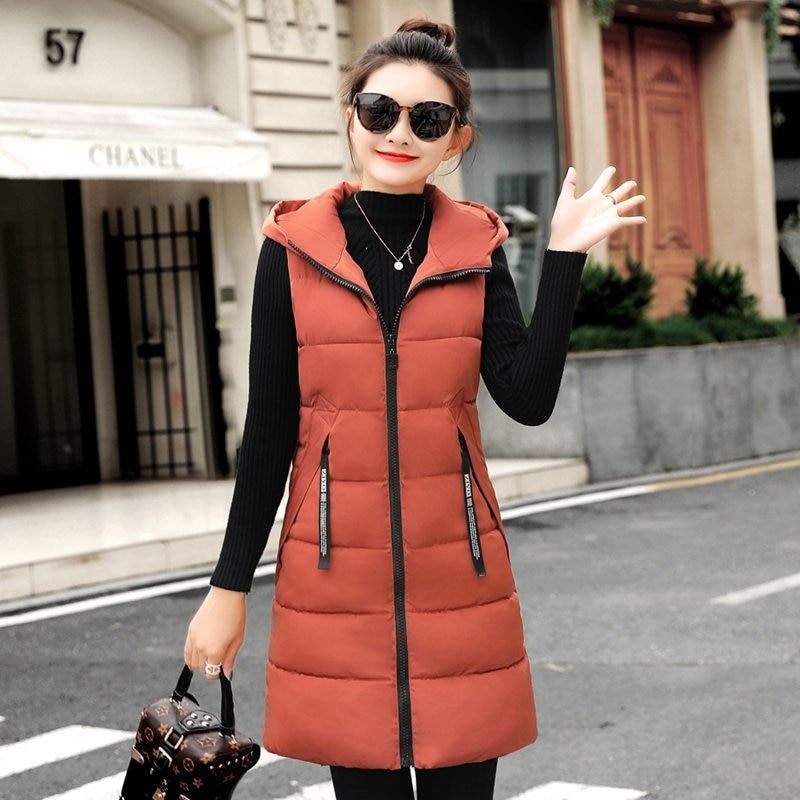 New Down Cotton Women Winter Vest  Zipper Hooded Women's Long Coats Warm Sleeveless Ladies Long Jackets Slim Vests
