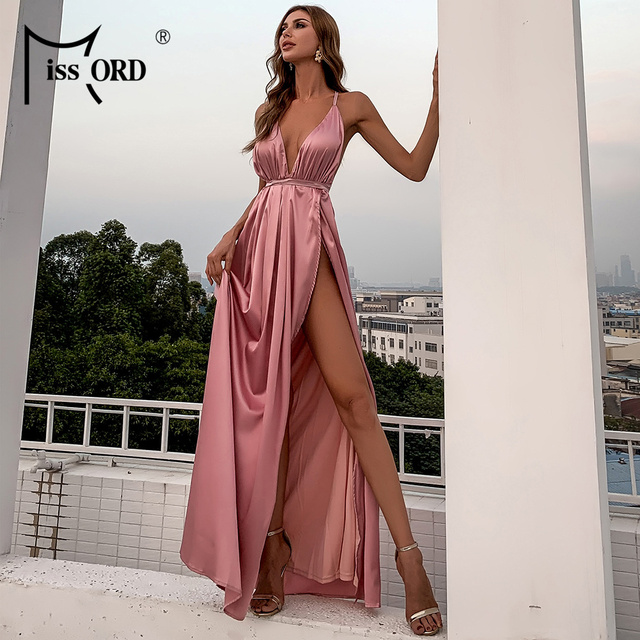 Missord Summer Female V-neck Backless Evening Party Dress High Split Backless Holiday Beach Dresses Sexy Maxi Dress FT2462 3