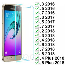 الزجاج المقسى على لسامسونج غالاكسي J3 J5 J7 2015 2016 2017 واقي للشاشة لسامسونج J2 J8 J4 J6 زائد 2018 طبقة رقيقة واقية