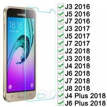 Verre trempé sur pour Samsung Galaxy J3 J5 J7 2015 2016 2017 protecteur décran pour Samsung J2 J8 J4 J6 Plus 2018 Film de protection