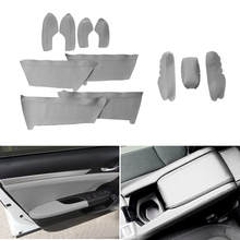 4pcs Gray Microfiber Leather Interior Door Handle Panel Guards / Center Armrest Covers Trim For Honda Civic 10th Gen 2016 2017 for honda civic 10th gen 2016 2017 3pcs car center control armrest microfiber leather cover