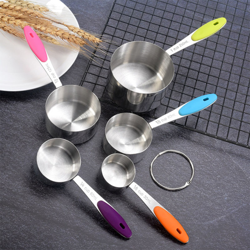 5Pcs Measuring Cups Measuring Spoons Set Stainless Steel Measuring Cup Spoon For Baking Tea Coffee Kitchen Measuring Tools