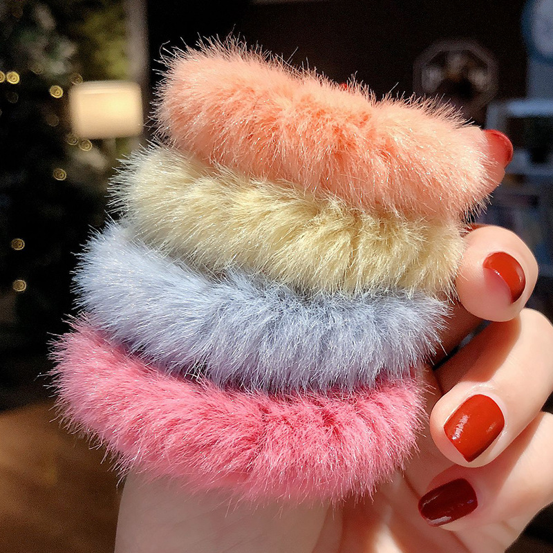 4pcs/set Winter Autumn Fur Cute Women Girls Scrunchies Elastic Rubber Ponytail Holder Headband Fashion Colorful Hair Accessories