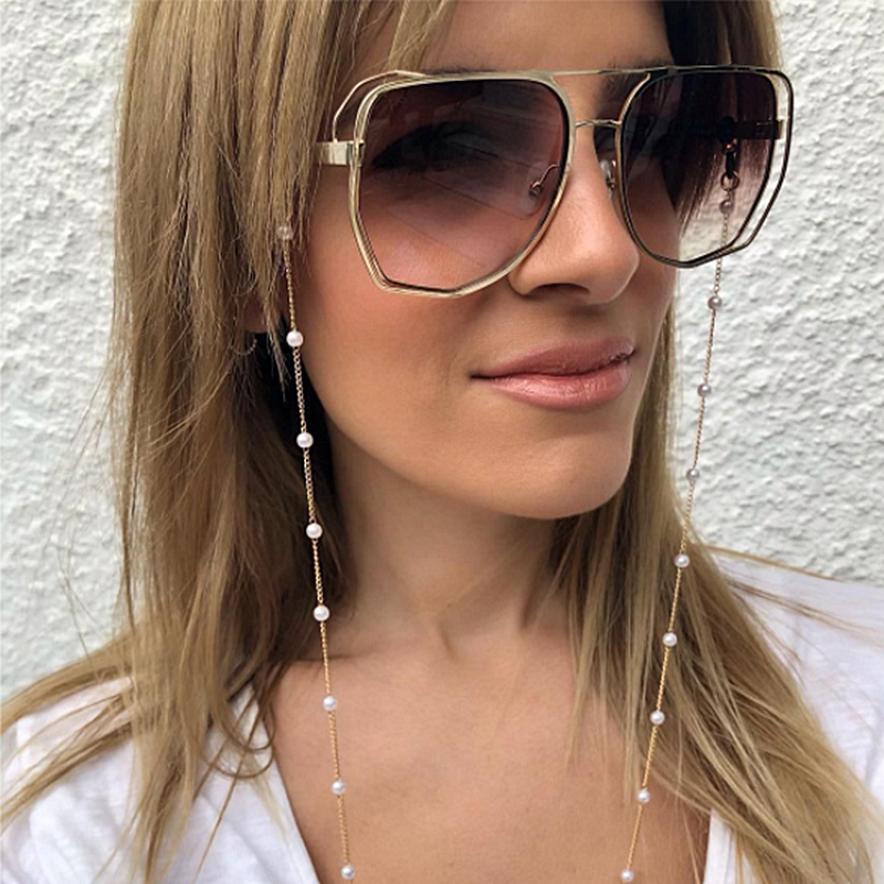 2020 Chic Fashion Reading Glasses Chain For Women Metal Sunglasses Cords Casual Pearl Beaded Eyeglass Chain For Glasses Women