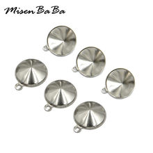 20PCS/lot 6 8 10 12mmCone Stainless Steel Pendant Crystal Cabochon Setting Bezel With Jump Rings Jewelry Making Component Base