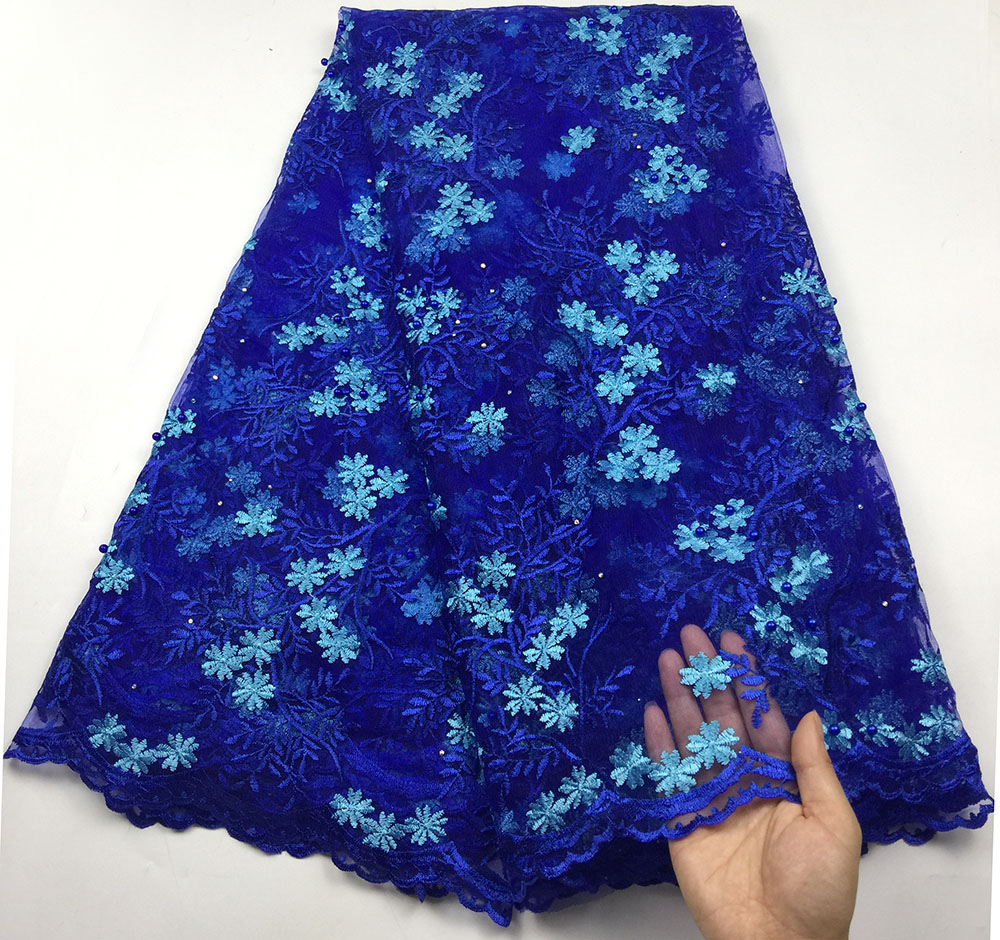 Royal blue african lace fabric 2019 high quality lace french mesh fabric beaded stones nigerian lace fabrics for dress