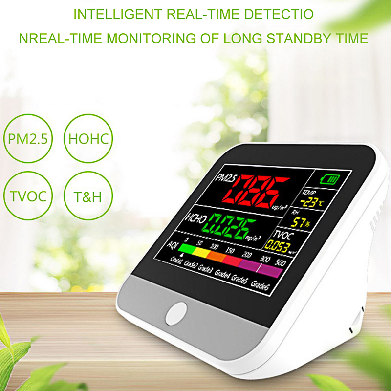 Portable Digital pm2 5 Detector Air Quality Mmonitor m dulo qualidade do ar LCD Backlight Batter USB HCHO TVOC Gas Analyzers in Gas Analyzers from Tools