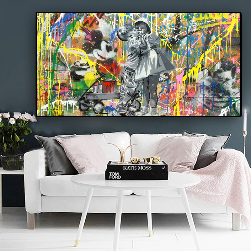 Abstract Street Art Cartoon Disney Mickey Mouse Canvas Painting Poster and Print Wall Art Picture home decoration no frame