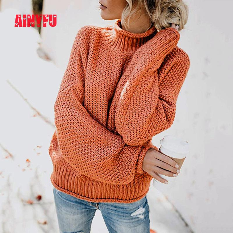 Autumn Winter Solid Plus Thick Femme Clothing Turtleneck Casual Knitted Pullovers Tops Women Long Sleeve Loose Ladies Sweaters