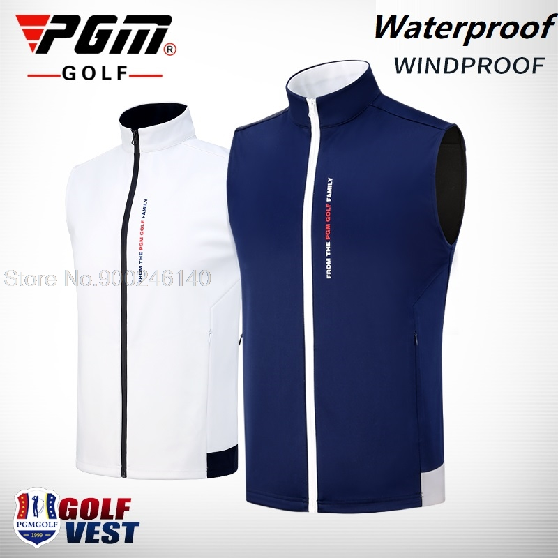 Pgm Men's Vest Golf Clothes Full-Zip Sleeveless Windproof Waterproof Coat Competition Uniform Man Golf/Tennis Jackets Wasitcoat