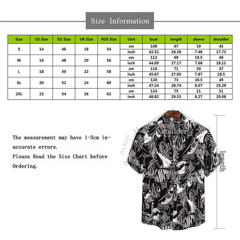 2021 New Arrival Men's Shirts Men Hawaiian Camicias Casual One Button Wild Shirts Printed Short-sleeve Blouses Tops 2