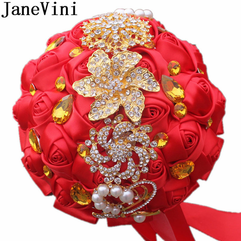 JaneVini 2020 Luxurious Gold Diamond Wedding Flowers Bridal Bouquets Red Bling Crystal Beaded Wedding Bouquet Rose Bride Brooch