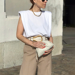 Image 3 - Deuxtwinstyle décontracté femmes débardeur O cou sans manches ample ruché Streetwear gilet pour femme mode vêtements 2020 printemps marée