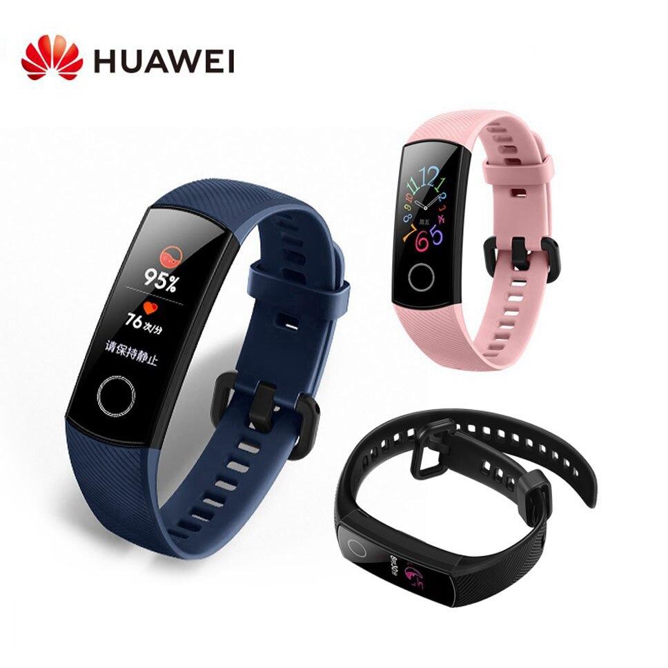 Original Global Huawei Honor bande intelligente 5 écran tactile couleur bracelet intelligent étanche traqueur de fréquence cardiaque montre pour Android IOS