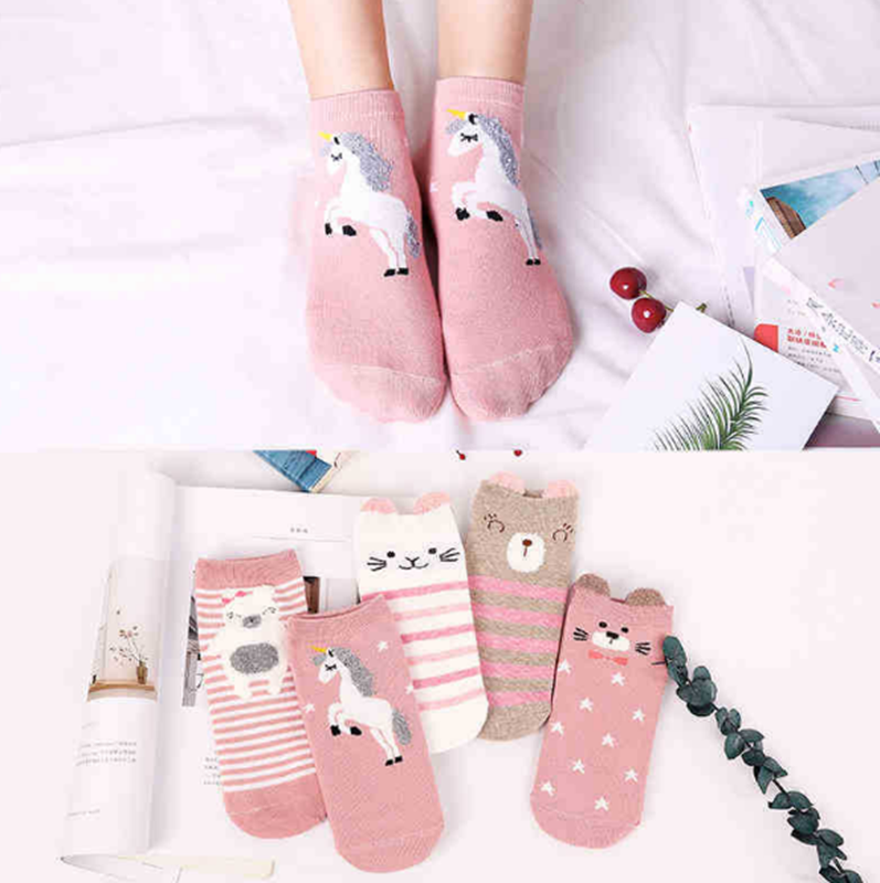 5 Pairs/Lot Cartoon Unicorn Cat Lion Women Socks Cute Animal Ear Cotton Short Socks Girls Funny Ankle Socks