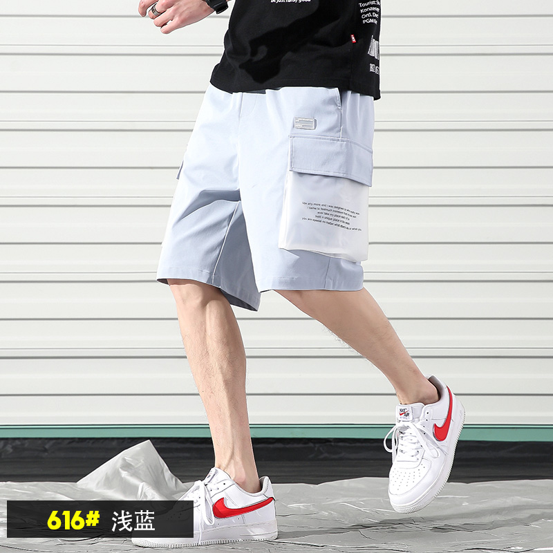 Summer Mens Shorts Casual With Pockets Male Cargo Shorts Solid Color Sport Loose Pants Erkek Giyim Men Korean Clothing XX60MS