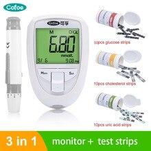 Cofoe 3 в 1измеритель холестерина мерить холестерин мерить сахар измерение мочевой кислоты многофункциональный глюкометр диабет blood glucose meter blood glucose meter с тест полоски