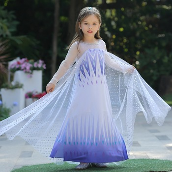 Frozen 2 Fantastic Anna Elsa 2 Princess Dress Up White Halloween Costume Sequined Long Gown Kids Wedding Dresses Cosplay Clothes