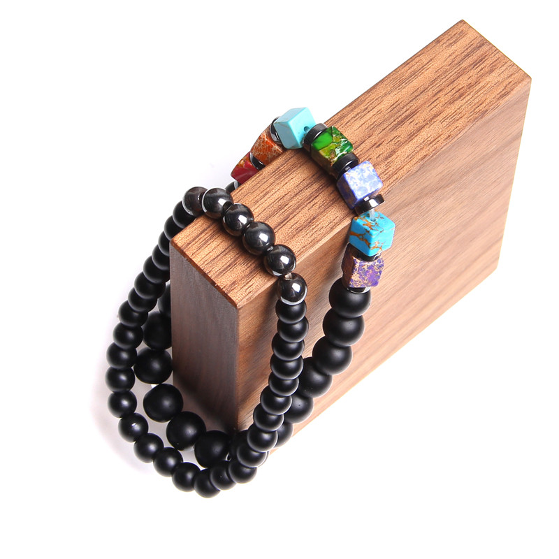 bracelet 7 chakras onyx noir