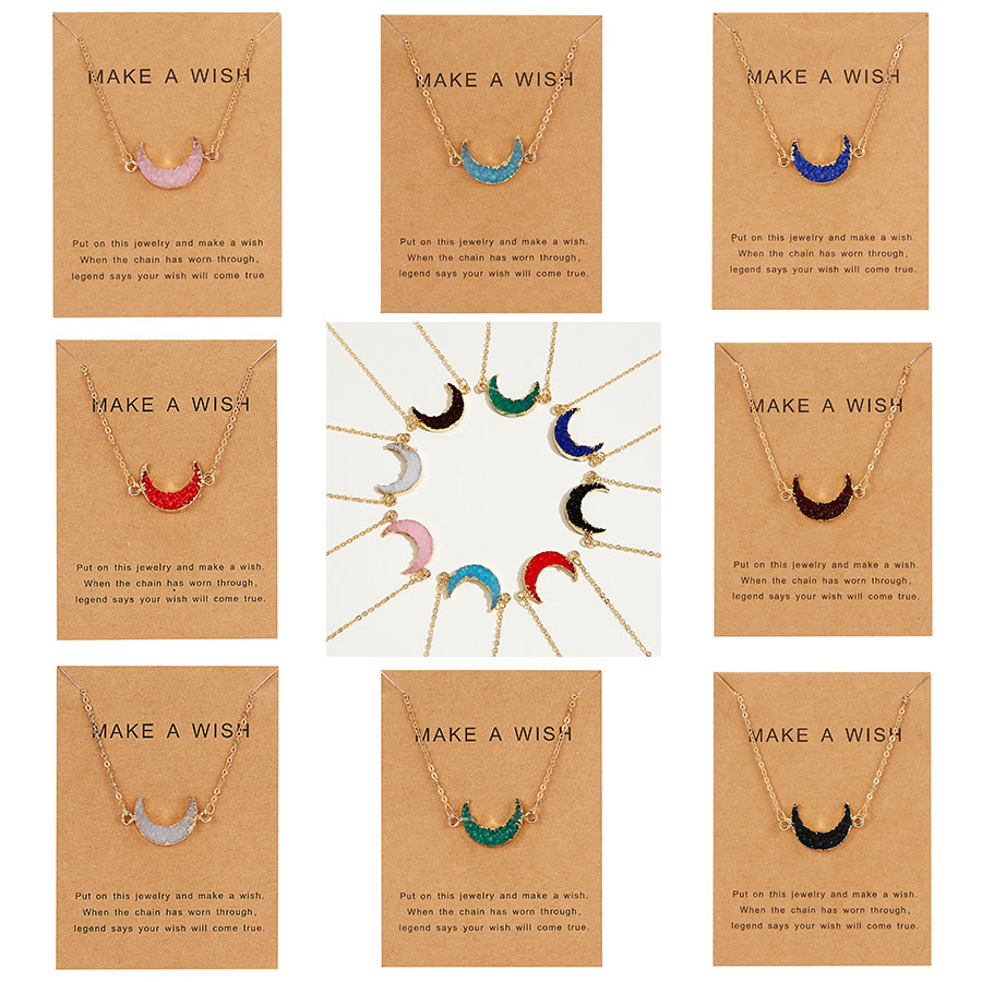 Rinhoo 8 Colors Moon Shape Druzy Necklace Fashion Resin Faux Stone Necklace Gold Color Paper Wish Card Jewelry For Women Girls