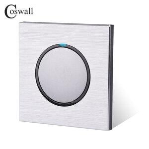 Image 4 - Coswall 1 Gang 1 Wayสุ่มคลิกเปิด/ปิดสวิทช์ไฟผนังที่มีไฟLEDสีดำ/สีเทาเงินแปรงอลูมิเนียมแผงโลหะ