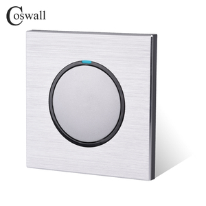 Image 4 - Coswall 1 Gang 1 Way Random Click On / Off Wall Light Switch With LED Indicator Black / Silver Grey Brushed Aluminum Metal Panel