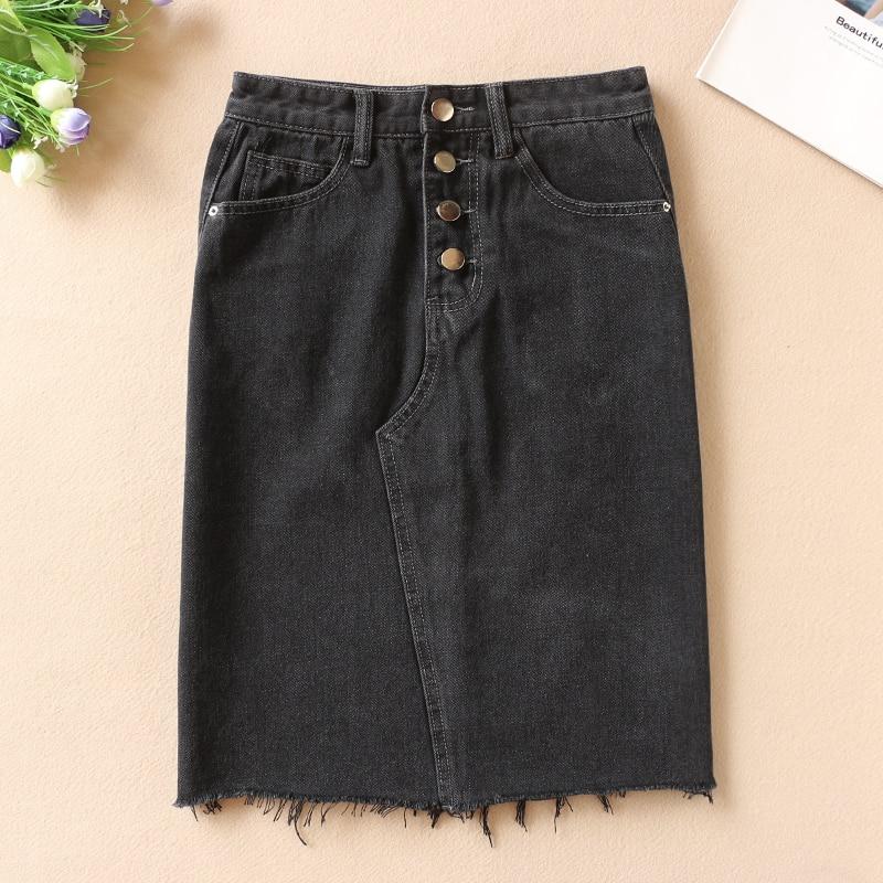 Women Sexy Denim Skirts 2019 Korea Fashion Pocket Button Lady Knee-Length Skirt Vintage High Waist Black Skirts Female Faldas
