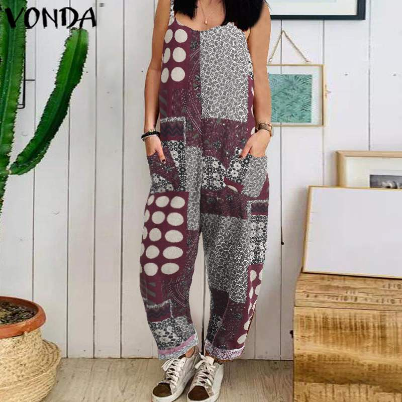 Vintage Sleeveless Rompers Womens Jumpsuits VONDA 2019 Summer Print Playsuits Female Overalls Casual Loose Wide Leg Pants S-5XL