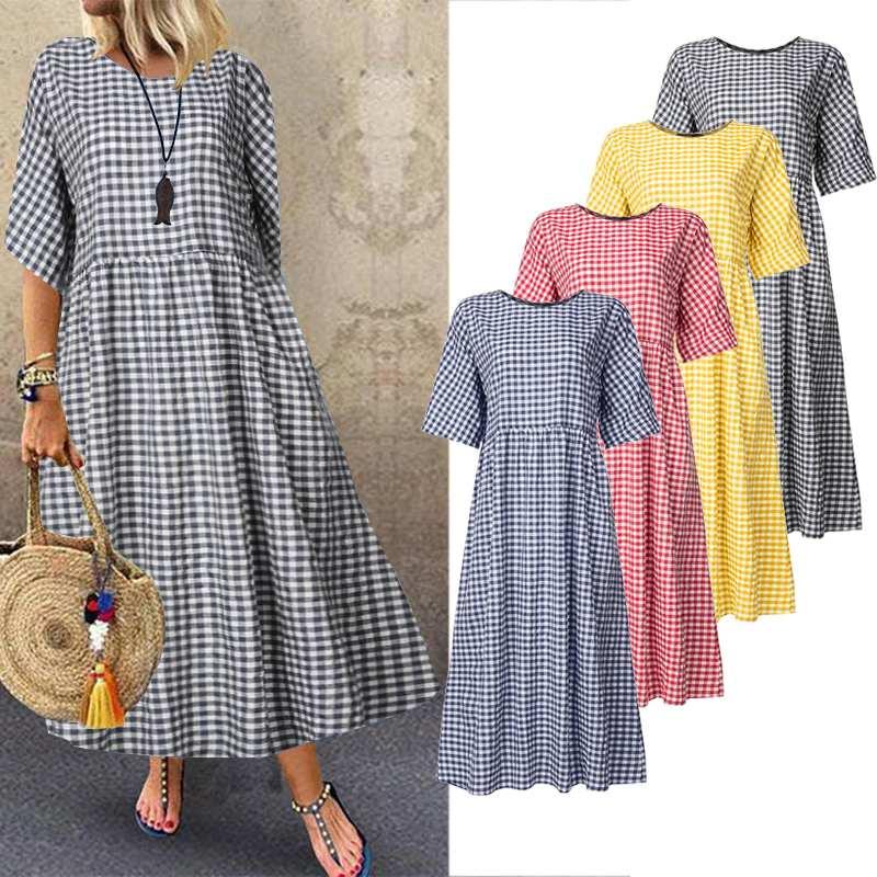 ZANZEA Women Plaid Check Summer Dress 2019 Female Casual Cotton Linen Maxi Vestidos Plus Size Ladies Bohemian Beach Sundress 5XL