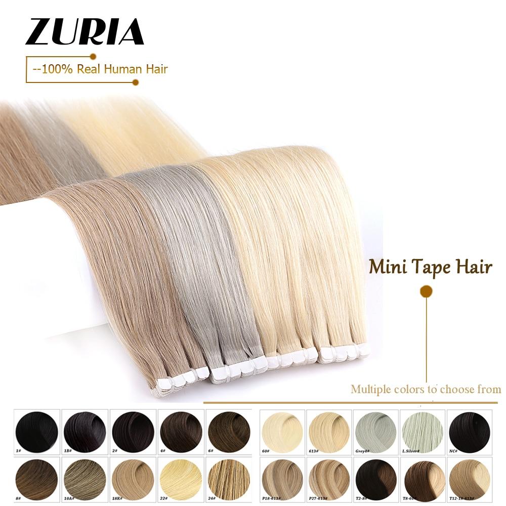 ZURIA мини лента в человеческих волос удлинители Прямой кожи уточный натуральный клей волос не Реми 12