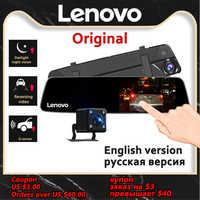 Cámara de salpicadero Original Lenovo, cámara de espejo retrovisor de doble lente, cámara de visión nocturna Dashcam, Video grabadora, placa de matrícula, IPS coche DVR