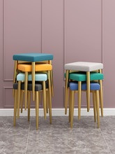 Home Stool Iron Small Square Stool Leather Bench Fashion Dining Stool Simple Shoe Changing Stool Creative Square Stool Makeup