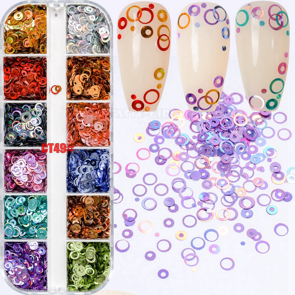 12 Grids/Box Mix Sizes Dreamlike Rainbow Round Holo Circle Sequins Nail Glitter Paillette Nail Art Slice Sequins Decals Set