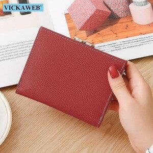 Image 2 - VICKAWEB cartera pequeña de piel auténtica para mujer, monedero colorido, monedero con cierre