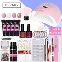 Nail Kit Poly Gel Set 80w LED Lamp Nail Gel Polish Set Quick Building For Nail Extensions Hard Jelly Gel Polygel Manicure Set