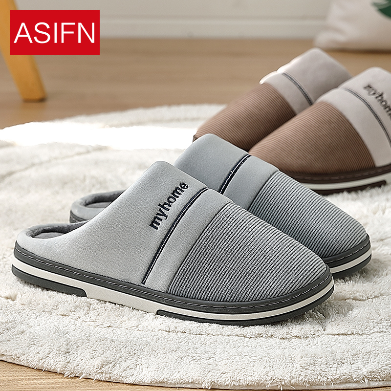 ASIFN Big Size Men's Slippers With Fur Winter Indoor Non-slip Slipper Soft Bottom Warm Home Thick Bottom Chinelo Masculino