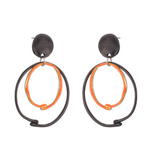 ZWPON Fashion Two-Tone Circle Painted Drop Earrings Geometric Circle Hollow Alloy Brand Black Orange Drop Earrings for Woman cheap Zinc Alloy TRENDY E7250 Metal Women Colorful 5 4*3 9cm 1-2 days by china post epacket HK post DHL UPS if order more than 8 15-25 days more than 180+ 3-5 days