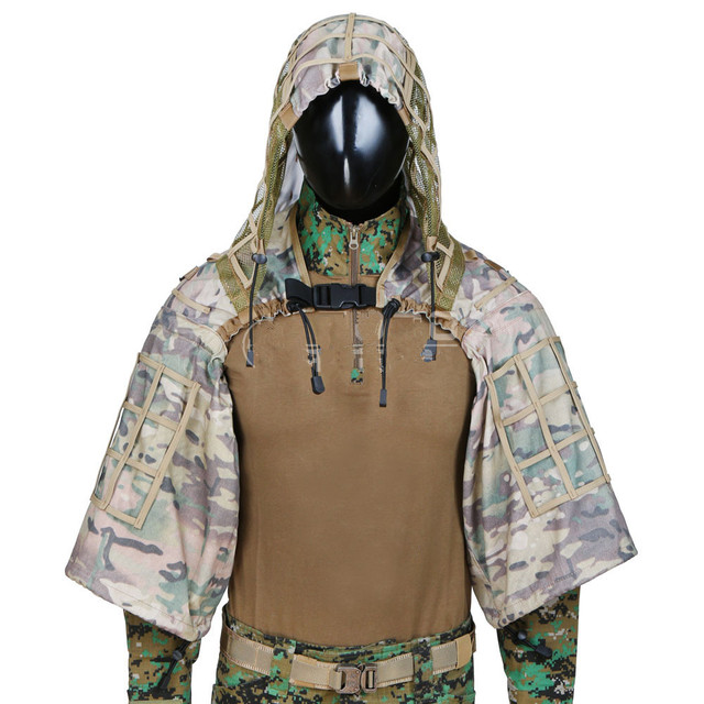 New Tactical CS Training Hunting Clothes With Yarn Sniper Camouflage Mesh Ghillie Suits Foundation Outdoor Shooting Jacket Sets 3