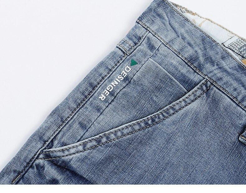 KSTUN Mens Light Blue Jeans Shorts Slim Fit Jeans Men Stretch Summer Denim Short Pants Fashion Leisure Male Jeans Quality Brand 15