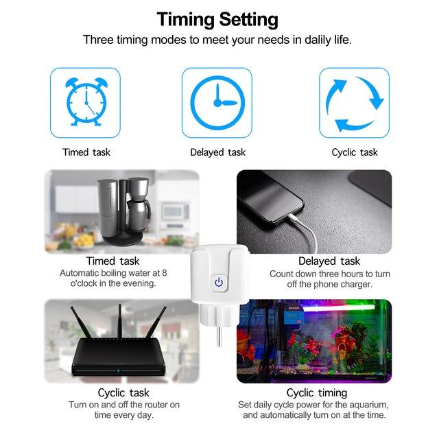 16A EU Smart Wifi Power Plug with Power Monitor Smart Home Wifi Wireless Socket Outlet Works with Alexa Google Home Tuya App 5