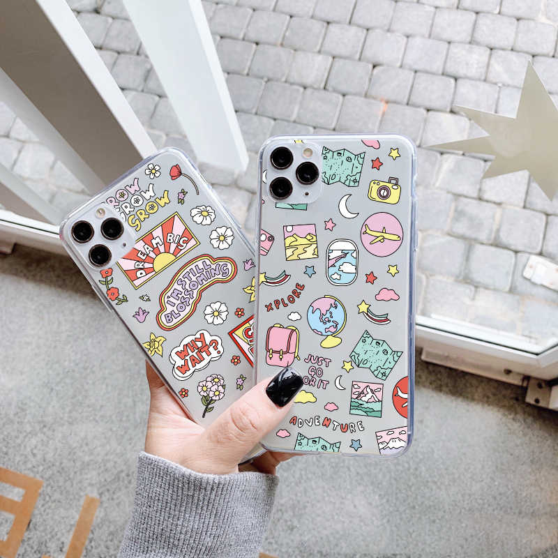 Cute Cartoon Plane World Tour Map Phone Case For Huawei P40 P30 P20 Lite Mate 20 30 Pro P smart Nova 5t Honor 10 8X Soft Cover