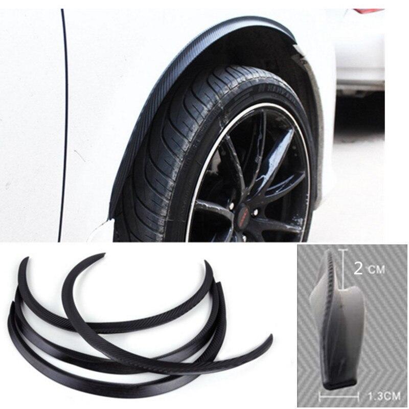 4pcs רכב קשת גלגל פנדר אבוקה הארכת מגן שפתיים נגד שריטות רך רצועת גלגל שפתיים זיקוקי כנף רכב סטיילינג